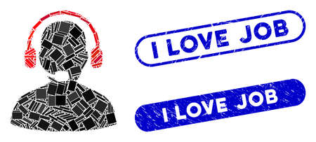 Mosaic receptionist and distressed stamp seals with I Love Job phrase. Mosaic vector receptionist is composed with random rectangle items. I Love Job stamp seals use blue color,