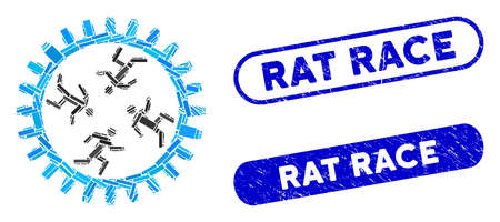 Mosaic rat race gear and grunge stamp seals with Rat Race phrase. Mosaic vector rat race gear is designed with randomized rectangle items. Rat Race stamp seals use blue color,