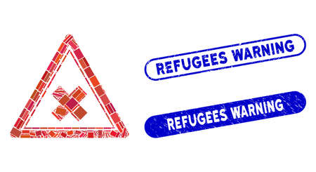 Mosaic reject triangle and rubber stamp seals with Refugees Warning phrase. Mosaic vector reject triangle is composed with randomized rectangles. Refugees Warning stamp seals use blue color,