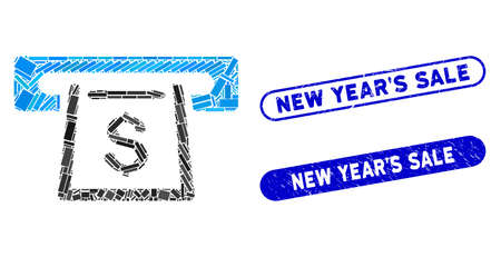 Mosaic cashout slot and corroded stamp seals with New YearS Sale caption. Mosaic vector cashout slot is designed with randomized rectangle items. New YearS Sale stamp seals use blue color, Vektoros illusztráció
