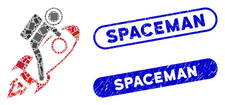 Mosaic spaceman and grunge stamp seals with Spaceman phrase. Mosaic vector spaceman is designed with randomized rectangle items. Spaceman stamp seals use blue color, and have round rectangle shape.