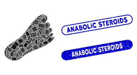 Mosaic foot and grunge stamp seals with Anabolic Steroids phrase. Mosaic vector foot is created with randomized rectangle items. Anabolic Steroids stamp seals use blue color, 向量圖像