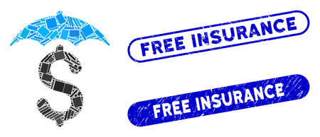 Collage financial roof and rubber stamp seals with Free Insurance phrase. Mosaic vector financial roof is created with randomized rectangle items. Free Insurance stamp seals use blue color,  イラスト・ベクター素材