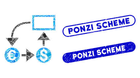 Mosaic cashflow and rubber stamp seals with Ponzi Scheme text. Mosaic vector cashflow is designed with scattered rectangles. Ponzi Scheme stamp seals use blue color, and have round rectangle shape.