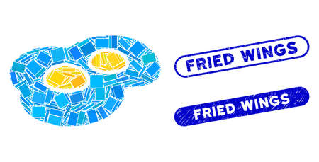Collage fried eggs and corroded stamp seals with Fried Wings caption. Mosaic vector fried eggs is composed with randomized rectangle items. Fried Wings stamp seals use blue color,