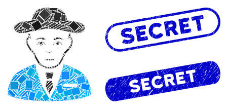 Mosaic secret service agent and corroded stamp seals with Secret phrase. Mosaic vector secret service agent is formed with randomized rectangle items. Secret stamp seals use blue color,