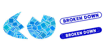 Mosaic eggshell and grunge stamp seals with Broken Down text. Mosaic vector eggshell is created with random rectangle items. Broken Down stamp seals use blue color, and have round rectangle shape.