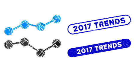 Mosaic trends and grunge stamp seals with 2017 Trends phrase. Mosaic vector trends is composed with scattered rectangles. 2017 Trends stamp seals use blue color, and have round rectangle shape.