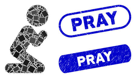 Mosaic child pray and grunge stamp seals with Pray phrase. Mosaic vector child pray is formed with random rectangle items. Pray stamp seals use blue color, and have round rectangle shape.