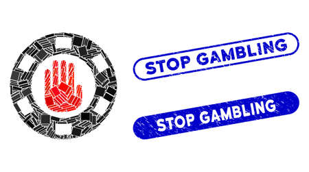 Mosaic stop gambling chip and corroded stamp seals with Stop Gambling text. Mosaic vector stop gambling chip is designed with randomized rectangle items. Stop Gambling stamp seals use blue color,