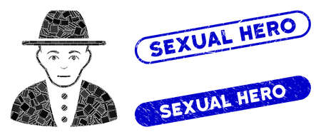 Mosaic jew and rubber stamp seals with Sexual Hero phrase. Mosaic vector jew is formed with scattered rectangle items. Sexual Hero stamp seals use blue color, and have round rectangle shape.