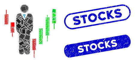 Collage stocks manager and grunge stamp watermarks with Stocks phrase. Mosaic vector stocks manager is composed with randomized rectangle items. Stocks stamp seals use blue color,