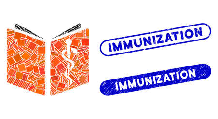 Mosaic drug handbook and distressed stamp seals with Immunization caption. Mosaic vector drug handbook is designed with randomized rectangle items. Immunization stamp seals use blue color,