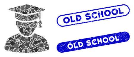 Mosaik-Wissensmann und beunruhigte Stempelsiegel mit Old-School-Beschriftung. Der Mosaikvektor-Wissensmann wird mit randomisierten Rechteckelementen erstellt. Old-School-Siegel verwenden blaue Farbe,