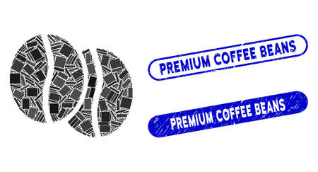 Mosaic coffee beans and corroded stamp seals with Premium Coffee Beans text. Mosaic vector coffee beans is created with scattered rectangle items. Premium Coffee Beans stamp seals use blue color, Çizim