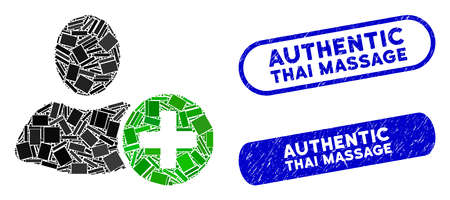 Mosaic add user and corroded stamp seals with Authentic Thai Massage text. Mosaic vector add user is composed with scattered rectangles. Authentic Thai Massage stamp seals use blue color, 向量圖像