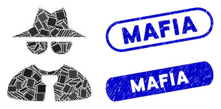 Mosaic mafia boss and distressed stamp seals with Mafia phrase. Mosaic vector mafia boss is formed with random rectangle items. Mafia stamp seals use blue color, and have round rectangle shape.