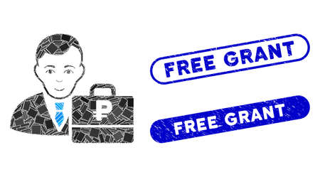 Mosaic rouble accounter and corroded stamp seals with Free Grant text. Mosaic vector rouble accounter is formed with random rectangle items. Free Grant stamp seals use blue color,