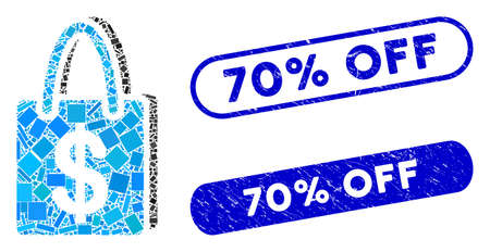 Mosaic shopping bag and distressed stamp seals with 70% Off caption. Mosaic vector shopping bag is designed with random rectangle items. 70% Off stamp seals use blue color, Stock Illustratie