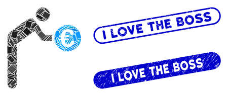 Mosaic euro banker and grunge stamp seals with I Love the Boss text. Mosaic vector euro banker is composed with random rectangle items. I Love the Boss stamp seals use blue color, Stock Vector - 139306849