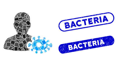 Mosaic bacteriologist and corroded stamp seals with Bacteria text. Mosaic vector bacteriologist is composed with random rectangles. Bacteria stamp seals use blue color, and have round rectangle shape. Çizim