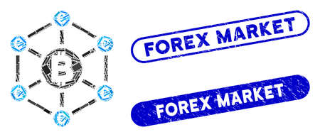 Mosaic Bitcoin Euro network and corroded stamp seals with Forex Market text. Mosaic vector Bitcoin Euro network is composed with randomized rectangle items. Forex Market stamp seals use blue color,