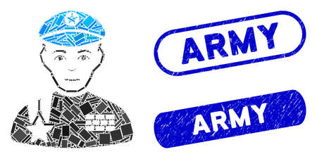 Mosaic army general and distressed stamp watermarks with Army phrase. Mosaic vector army general is formed with random rectangle items. Army stamp seals use blue color, and have round rectangle shape.