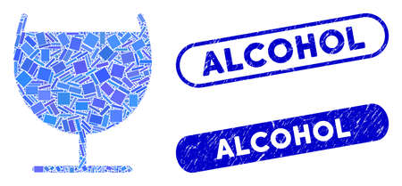 Mosaic alcohol glass and corroded stamp seals with Alcohol caption. Mosaic vector alcohol glass is formed with randomized rectangle items. Alcohol seals use blue color, and have round rectangle shape.