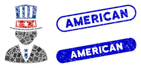Mosaic American capitalist and corroded stamp seals with American caption. Mosaic vector American capitalist is created with randomized rectangle items. American stamp seals use blue color,