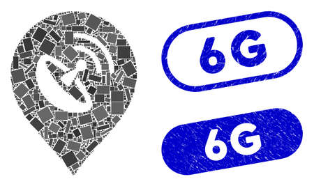 Collage antenna map marker and grunge stamp watermarks with 6G phrase. Mosaic vector antenna map marker is composed with scattered rectangle items. 6G stamp seals use blue color,