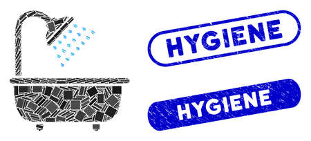 Mosaic bath shower and rubber stamp seals with Hygiene phrase. Mosaic vector bath shower is created with randomized rectangle items. Hygiene stamp seals use blue color, and have round rectangle shape.