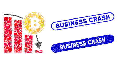 Mosaic Bitcoin falling chart and rubber stamp seals with Business Crash caption. Mosaic vector Bitcoin falling chart is composed with random rectangle items. Business Crash stamp seals use blue color,