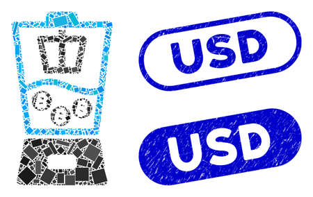 Collage Bitcoin mixer and rubber stamp seals with USD text. Mosaic vector Bitcoin mixer is designed with randomized rectangle items. USD stamp seals use blue color, and have round rectangle shape.