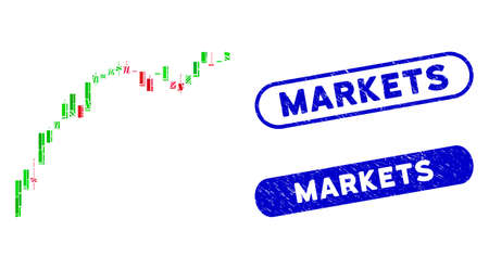 Mosaic candlestick chart growth slowdown and distressed stamp seals with Markets phrase. Mosaic vector candlestick chart growth slowdown is composed with random rectangle items.