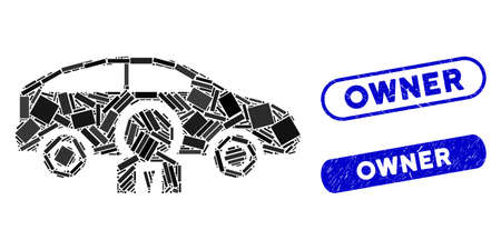 Mosaic car owner and distressed stamp seals with Owner phrase. Mosaic vector car owner is formed with scattered rectangle items. Owner stamp seals use blue color, and have round rectangle shape.