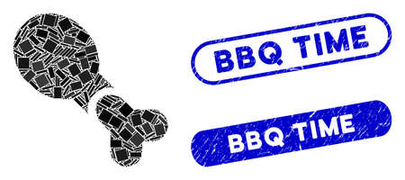 Mosaic chicken leg and distressed stamp seals with BBQ Time phrase. Mosaic vector chicken leg is created with randomized rectangle items. BBQ Time seals use blue color, and have round rectangle shape.