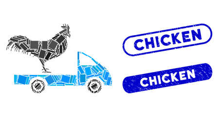 Mosaic chicken transport car and corroded stamp seals with Chicken caption. Mosaic vector chicken transport car is composed with random rectangle items. Chicken stamp seals use blue color,