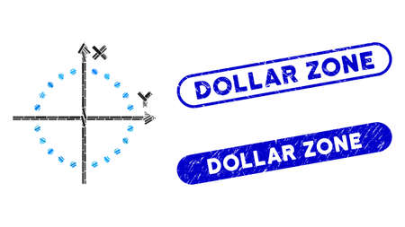 Mosaic circle plot and rubber stamp seals with Dollar Zone text. Mosaic vector circle plot is formed with scattered rectangle items. Dollar Zone stamp seals use blue color,