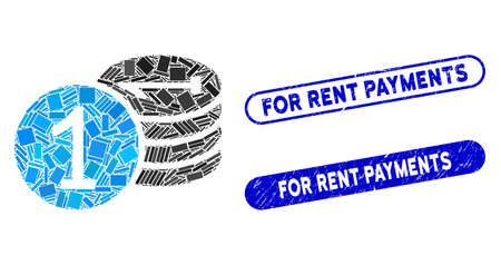 Mosaic coins and distressed stamp seals with For Rent Payments text. Mosaic vector coins is designed with scattered rectangle items. For Rent Payments stamp seals use blue color,