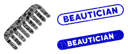 Collage comb and distressed stamp seals with Beautician phrase. Mosaic vector comb is designed with scattered rectangle items. Beautician stamp seals use blue color, and have round rectangle shape.