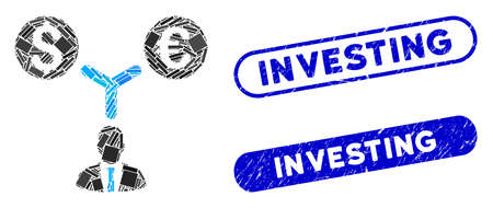 Mosaic currency manager and rubber stamp seals with Investing text. Mosaic vector currency manager is composed with scattered rectangles. Investing stamp seals use blue color, Stock Vector - 139566167