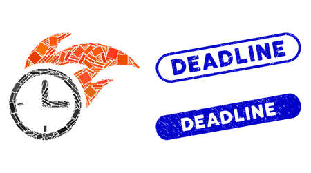 Mosaic deadline fired clock and grunge stamp watermarks with Deadline text. Mosaic vector deadline fired clock is designed with randomized rectangle items. Deadline stamp seals use blue color, Illustration