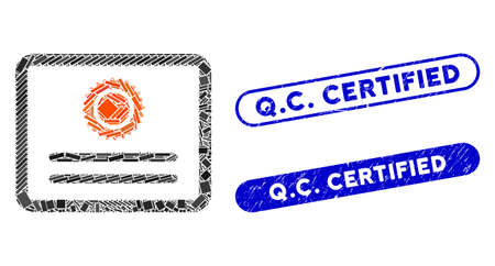 Mosaic diploma and corroded stamp seals with Q.C. Certified text. Mosaic vector diploma is composed with random rectangle items. Q.C. Certified seals use blue color, and have round rectangle shape.