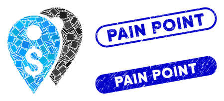 Collage dollar bank marks and rubber stamp seals with Pain Point phrase. Mosaic vector dollar bank marks is created with random rectangle items. Pain Point stamp seals use blue color,
