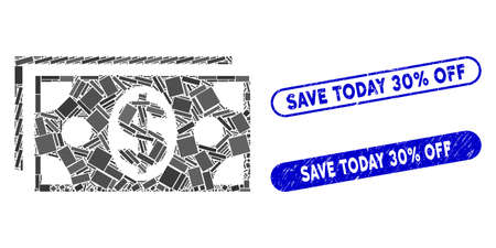 Mosaic dollar banknotes and distressed stamp seals with Save Today 30% Off phrase. Mosaic vector dollar banknotes is designed with scattered rectangle items. Save Today 30% Off seals use blue color,
