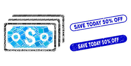 Collage dollar banknotes and grunge stamp seals with Save Today 50% Off phrase. Mosaic vector dollar banknotes is composed with random rectangle items. Save Today 50% Off stamp seals use blue color, Ilustracja