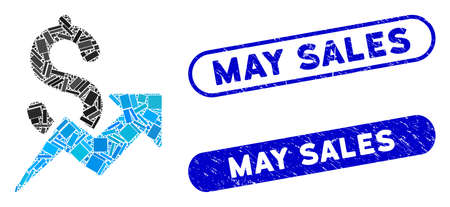 Mosaic dollar growth and corroded stamp seals with May Sales text. Mosaic vector dollar growth is designed with randomized rectangle items. May Sales stamp seals use blue color,