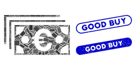 Mosaic Euro banknotes and distressed stamp seals with Good Buy text. Mosaic vector Euro banknotes is formed with randomized rectangle items. Good Buy seals use blue color, Ilustracja