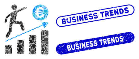Collage Euro business growth and rubber stamp seals with Business Trends text. Mosaic vector Euro business growth is composed with randomized rectangle items.