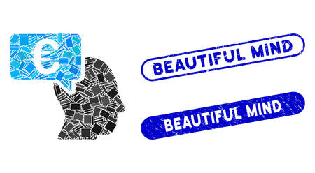 Mosaic Euro businessman idea and corroded stamp seals with Beautiful Mind caption. Mosaic vector Euro businessman idea is created with scattered rectangles. Beautiful Mind stamp seals use blue color,
